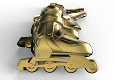 Golden inline roller skates. 3D rendered illustration of a set of inline roller skates and protection gear Royalty Free Stock Photos