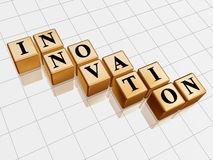 Golden innovation. 3d golden boxes with text - innovation, word Royalty Free Stock Images