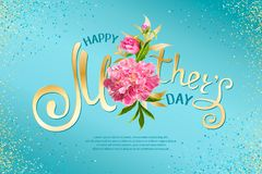 Happy Mothers Day. Golden inscription Happy Mothers Day with pink blooming peony flowers and shiny sequins on a blue background. Template for greeting cards vector illustration
