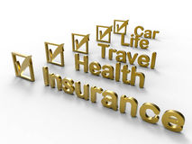 Golden insurances for different topics Royalty Free Stock Image