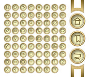Golden interface buttons. Royalty Free Stock Images