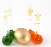 Golden Investment in Research Sector. Set of four laboratory beakers with golden egg nestled among them to reflect opportunity in research sectors Royalty Free Stock Photography