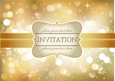 Golden invitation Stock Images