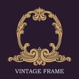 Golden invitation decorative frame. Elegant lines of calligraphic ornament. Heraldic symbols. The original monogram. stock illustration