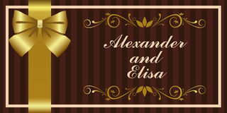 Golden Invitation. Vector luxury wedding invitation with golden ornaments Royalty Free Stock Photos