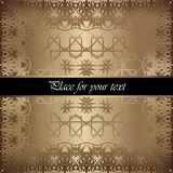 Golden invitation. Vintage pattern,decorative elements, floral. Black ribbon, place for text, labels Royalty Free Stock Images