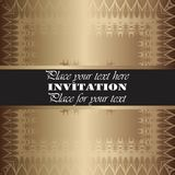 Golden invitation Stock Photo