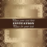 Golden invitation. Vintage pattern,decorative elements, floral. Brown ribbon, place for text, labels Stock Image