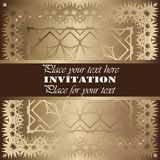Golden invitation. Vintage pattern,decorative elements, floral. Brown ribbon, place for text, labels Stock Photos