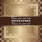 Golden invitation. Vintage pattern,decorative elements, floral. Brown ribbon, place for text, labels royalty free illustration