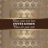 Golden invitation. Vintage pattern,decorative elements, floral. Brown ribbon, place for text, labels Royalty Free Stock Image
