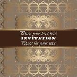 Golden invitation. Vintage pattern,decorative elements, floral. Brown ribbon, place for text, labels vector illustration