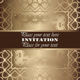 Golden invitation. Vintage pattern,decorative elements, floral. Brown ribbon, place for text, labels Royalty Free Stock Photos