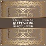 Golden invitation. Vintage pattern,decorative elements, floral. Grey ribbon, place for text, labels Stock Image