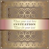 Golden invitation Stock Image