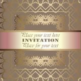 Golden invitation. Vintage pattern,decorative elements, floral. Pink mother of pearl ribbon, place for text, labels Stock Images