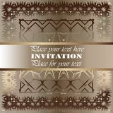 Golden invitation. Vintage pattern,decorative elements, floral. Pink mother of pearl ribbon, place for text, labels Royalty Free Stock Photo