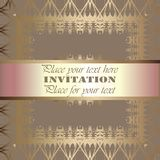Golden invitation. Vintage pattern,decorative elements, floral. Pink mother of pearl ribbon, place for text, labels Stock Image