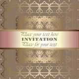 Golden invitation. Vintage pattern,decorative elements, floral. Pink mother of pearl ribbon, place for text, labels.Vintage pattern,decorative elements, floral Stock Images