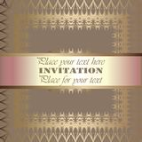 Golden invitation. Vintage pattern,decorative elements, floral. Pink mother of pearl ribbon, place for text, labels.Vintage pattern,decorative elements, floral Stock Photography