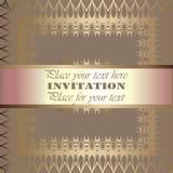 Golden invitation. Vintage pattern,decorative elements, floral. Pink mother of pearl ribbon, place for text, labels.Vintage pattern,decorative elements, floral vector illustration