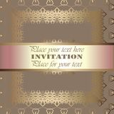 Golden invitation. Vintage pattern,decorative elements, floral. Pink mother of pearl ribbon, place for text, labels.Vintage pattern,decorative elements, floral Royalty Free Stock Photography