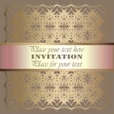 Golden invitation. Vintage pattern,decorative elements, floral. Pink mother of pearl ribbon, place for text, labels.Vintage pattern,decorative elements, floral Royalty Free Stock Photos