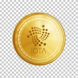 Golden IOTA blockchain coin symbol. Golden IOTA coin. Crypto currency blockchain coin IOTA symbol isolated on white background. Realistic vector illustration Stock Photography