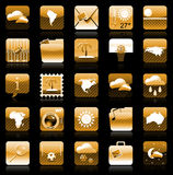 Golden iphone holiday icon set vector illustration