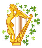 Golden Irish harp Royalty Free Stock Image