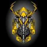 Golden iron deer vector illustration