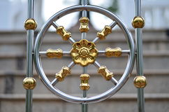 Golden Iron Flower. S that are made up of metal used for decorative fences around temples in Thailand Royalty Free Stock Image