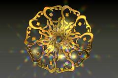 Golden Islamic Prayer Symbol with nice Lensflare. 3D Rendering of an Islamic Prayer Symbol, Nice for desktop background or postcard or posters Royalty Free Stock Images