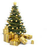 Golden isolated christmas tree Stock Photos