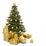 Golden isolated christmas tree vector illustration