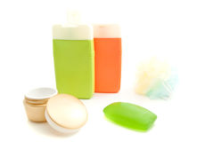 Golden jar of cream and other toiletry Stock Photo