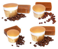 Golden jar natural cream sprig natural cosmetics concept feminin. E,  tar soap beauty roasted coffee beans, cosmetic concept scrub set isolated on white Stock Image