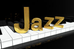 Golden Jazz Sign. Jazz Music Concept. Black piano keys with golden Jazz sign Stock Images