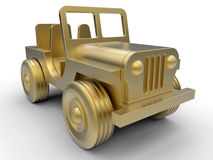Golden jeep. 3D rendered illustration of a golden jeep. The car is isolated on a white background with shadows Stock Photo
