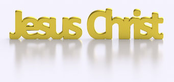 Golden Jesus Christ word letters. Jesus Christ wordings with glossy gold texture, blurry shadow and reflection Stock Photo