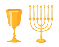 Golden menorah with candles hebrew religion tradition decoration flame and candelabrum hanukkah orthodox judaism Royalty Free Stock Photography