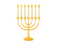 Golden jew menorah with candles hebrew religion tradition decoration flame and candelabrum hanukkah orthodox judaism Stock Photography