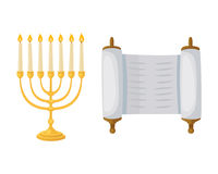 Golden jew menorah with candles hebrew religion tradition decoration flame and candelabrum hanukkah orthodox judaism Stock Image