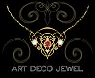 Golden Jewel With Butterfly, Green Gems. Necklace In Art Deco Style. Circle Pendant On Filigree Golden Chain. Royalty Free Stock Photography