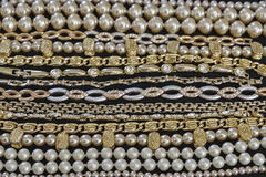 Golden jewelery closeup Royalty Free Stock Photography