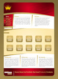 Golden  jewelery web page template. Golden jewelery  web page template with crown element Royalty Free Stock Photo