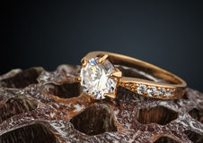 Golden jewellery ring with big diamond on dry Lotus flower, macr Stock Image