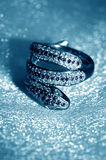 Golden jewelry accessories - ring serpent Stock Photos