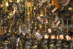 Golden jewelry in the grand bazaar royalty free stock photo