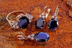 Golden jewelry set Royalty Free Stock Image
